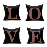 Cushion Cover English Letters Love Decor Linen Cotton Bedding Throw Pillow Wedding Gift 45*45 Cm