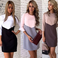 KAYWIDE 2016 Women Winter Dress Series Fashion Cute New Style Three Quarter Sleeve Patchwork Midi Dress For Women A16337