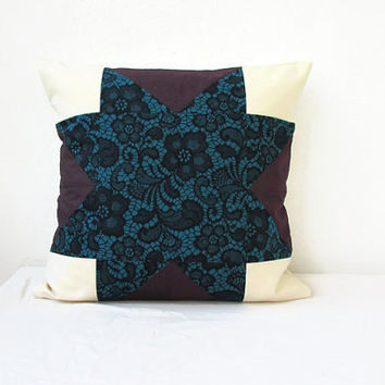 Teal patchwork cushion cover, modern quilted cushion cover, teal and purple pillow, 16 inch cushion, quilted pillow, handmade in the UK