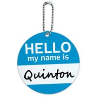 Quinton Hello My Name Is Round ID Card Luggage Tag