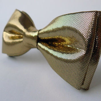 Mens bow tie freestyle groom wedding hipster classic retro necktie chic handmade gift for him by Bartek Design - shiny gold sparkle