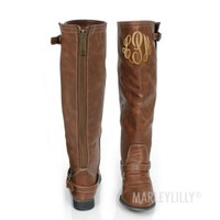 Monogrammed Tan Buckle Riding Boots   Marley Lilly