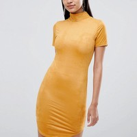 Lasula suedette high neck bodycon dress in Yellow at asos.com
