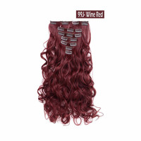 "20"" Curly Full Head Clip in Synthetic Hair Extensions 7pcs 140g (99J-Wine red)"