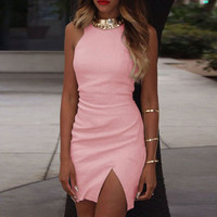 Slit Bodycon Mini Dress B005783