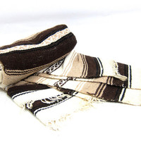 Mexican Blanket Brown and White Striped Ethnic Twin Blanket Small Lap Throw Cover Hipster Home Decor Bohemian Chic