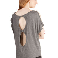 ModCloth Long Short Sleeves Hit the Roadtrip Top in Charcoal