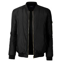 Mens Classic Fully Lined Zip Up Flight Bomber Jacket with Pockets (CLEARANCE)