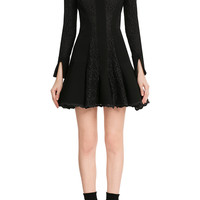 Alexander McQueen - Cotton-Wool Mini Dress with Lace