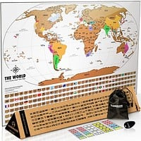 Scratch Off World Map With Flags - White & Gold - World Travel Tracker Map ® - 17 (h) x 24 ( w) Inches - Scratch Off Map of The World - The Gift Travelers Want