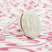Monogrammed Ring in Sterling Silver for Women or Christmas Present
