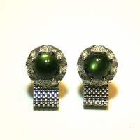 Green and Silver Cufflinks Vintage Mesh Link Fold Over Cuff Links Accessories for Men