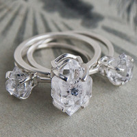 Large Herkimer Diamond Solitaire Ring