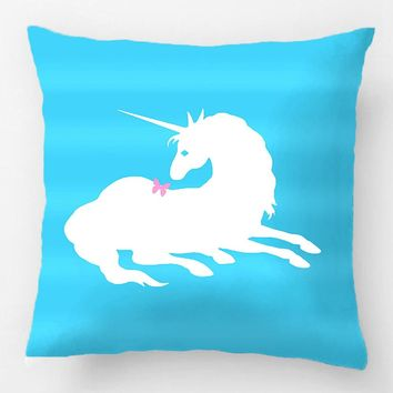 Unicorn Pillow Case with Butterfly for Bed, Sofa, Chair, Seat Cushion 20x20, 18x18 and 12x20 Inch
