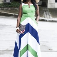Kelly Green Striped Draped For Wedding Banquet Elegant Party Maxi Dress