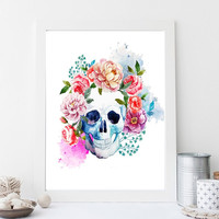 """Printable Wall art Poster /skull with flowers/ 8""""x10"""" Instant Download print for home Decor TheLabelBoutique digital artwork"""