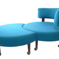 MidCentury Retro Round Chair & Ottoman After Adrian by ModTiques