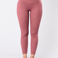 We Should Be Together Leggings - Red Brown