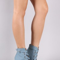 Qupid Denim Corset Lace-Up Thick Heeled Booties