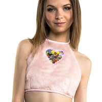 Pink Faux Fur and Plastic Raver Halter Top