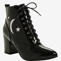 Black Patent Faux Leather Hologram Moon & Stars Pointed Toe Booties