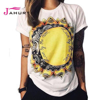 Fashion T Shirt Summer Women 2016 Live By The Sun Love By The Moon Print