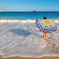 "Mandala Lotus Flower Shape Beach Blanket (""NEW"" Now Available in Different Colors)"