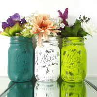 Green and White Mason Jar Vase Set -- Shabby Cottage Chic Home Decor, Rustic Wedding Decor