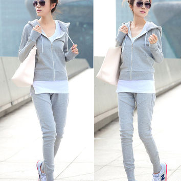 3 Pcs Women Sport Suit Set Casual Brand Hooded Tracksuits Grey Black Jogging Suit Women Sport Track Suit Hoodies+Vest+Pants