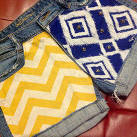 Blue and Yellow Gold School Spirit Shorts Chevron Studded
