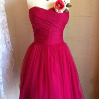 hot party dress, prom dress, formal dress, bridesmaid dress, fuchsia dress, Hot pink dress, celebrity dress, fuchsia dress