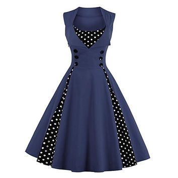 Going out Vintage A Line Polka Dot Navy Dress