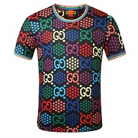 GUCCI New Summer Multicolor More Letter Star Print Women Men Top T-Shirt Black