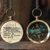 Wanderlust Quote Compass Jewelry, Vintage map, Compass Necklace, Travel Jewelry, Compass, Photography Jewelry, Gift Idea