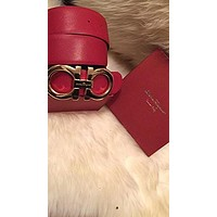 Salvatore Ferragamo Reversible Belt Red