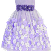 Girls Lavender Mesh Overlay Dress Taffeta & Chiffon Flowers 0-24m