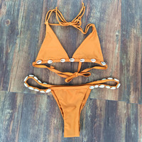 Handmade Shell Yellow Bikini Set