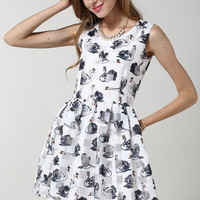 White Sleeveless Swan Print Pleated A-Line Mini Dress