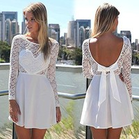 Amazon.com: Lowpricenice 1PC Sexy Women Lace Bow Backless Love Heart Party Short Dress