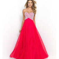 Cerise Cherry Strapless Jeweled Bandage Bodice Long Chiffon Gown