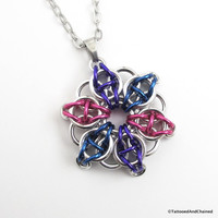 Bisexual pride chainmaille star pendant; pink, purple, blue