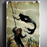 Mermaid and diver art print, creepy mermaid nautical decor