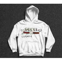 GUCCI Tide brand classic signature logo printing couple models wild casual hoodie White