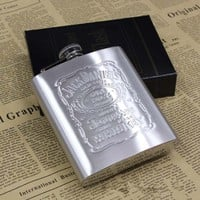 With Box Portable Stainless Steel Hip Flask 7oz Embossed Flagon Flasks Russian Wine Beer Whiskey Bottle Alcohol Drinkware PL072