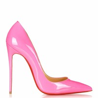 NIB Christian Louboutin So Kate Patent Leather Neige Neon Pink 120mm Size 36