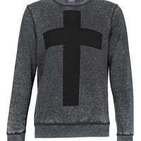 Grey Burnout Cross Printed Sweatshirt - Latest Trend - New In - TOPMAN USA
