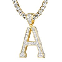 Custom  Solitaire Initial Iced Out Letter Charm with Tennis Chain