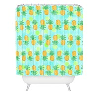 Lisa Argyropoulos Pineapples And Polka Dots Shower Curtain