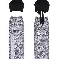 Halter Tie Top + Printed Maxi Skirt With Slit