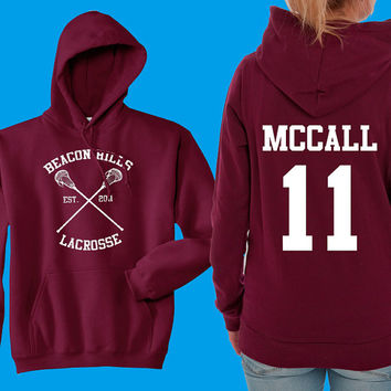 Teen Wolf Hoodie, Beacon Hills Lacrosse Hoodie, McCall 11, Teen Wolf Hooded Sweatshirt Size S - 4XL - Lahey, Stilinski, Hale, Available